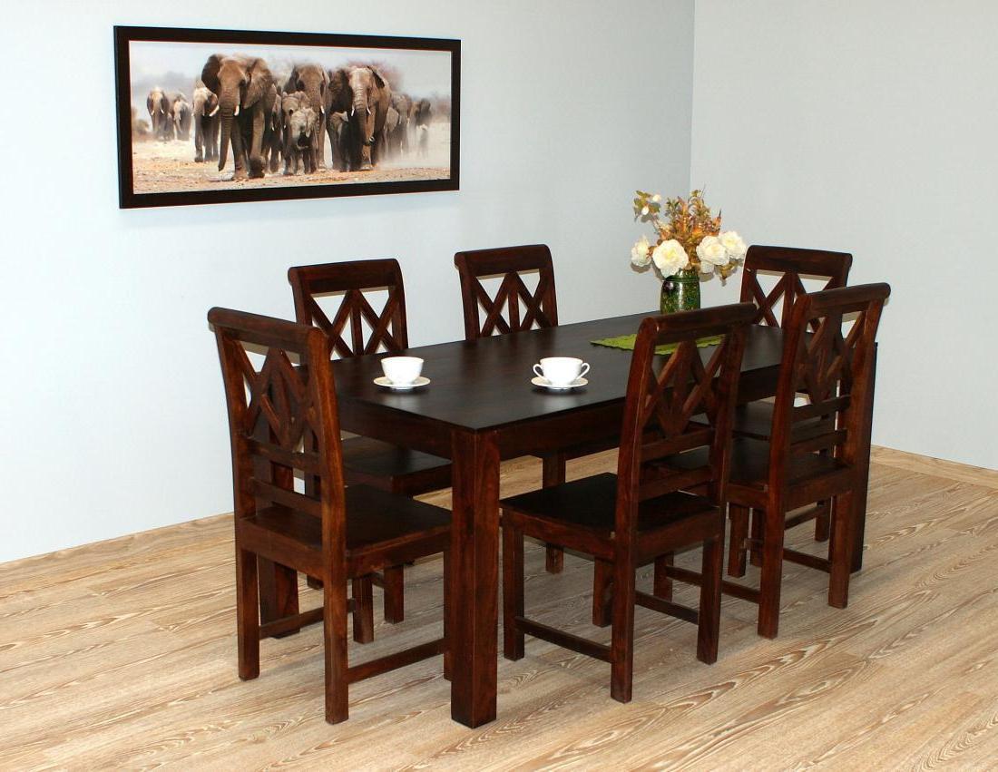 Komplet obiadowy indyjski stół masywny+ 6 krzeseł lite drewno palisander indyjski