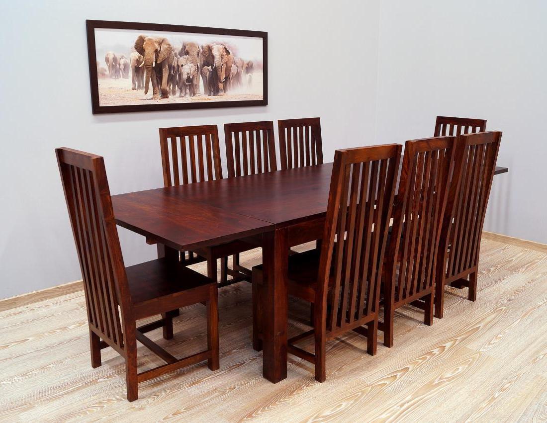 Komplet obiadowy indyjski stół rozkładany+ 8 krzeseł lite drewno palisander indyjski wysokie oparcia