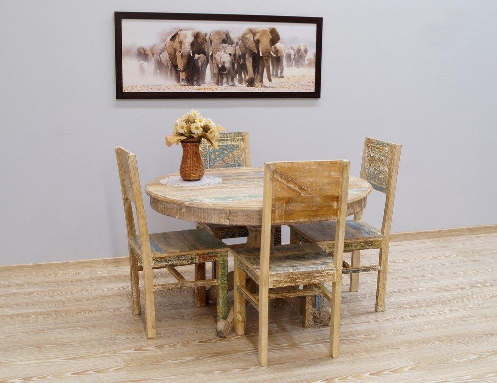 Komplet obiadowy stół okrągły + 4 krzesła kolonialny lite drewno mango pastelowe kolory rzeźbione styl Shabby Chic