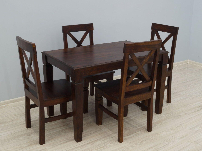 Komplet obiadowy kolonialny stół + 4 krzesła lite drewno palisander indyjski w klasycznym stylu