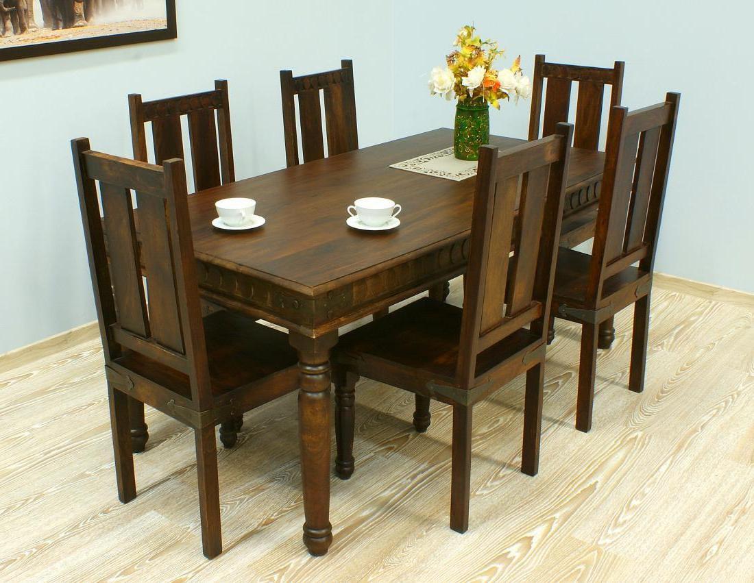 Komplet obiadowy kolonialny stół + 6 krzeseł lite drewno palisander indyjski klasyczny unikatowy