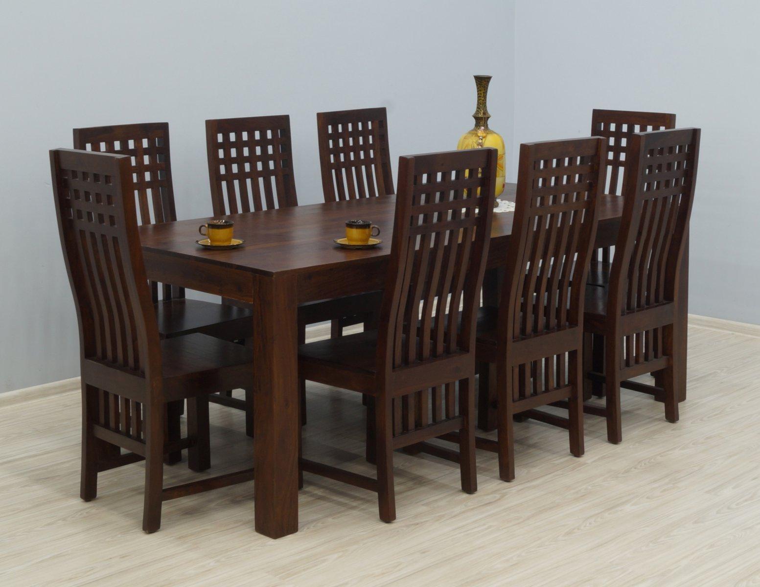 Komplet obiadowy kolonialny stół + 8 krzeseł lite drewno palisander indyjski wysokie oparcia