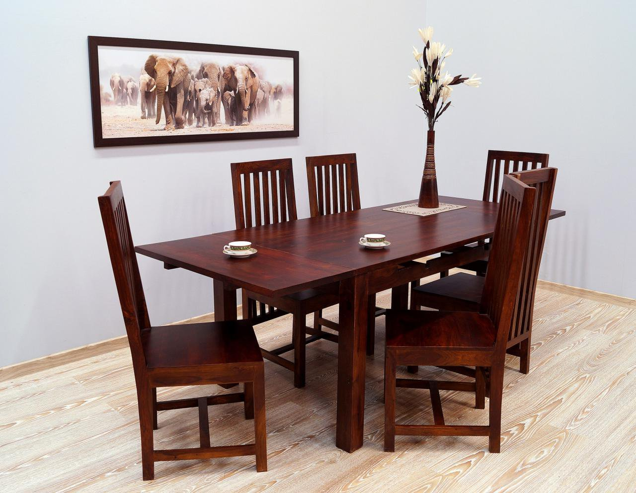 Komplet obiadowy kolonialny stół rozkładany + 6 krzeseł lite drewno palisander indyjski wysokie oparcia