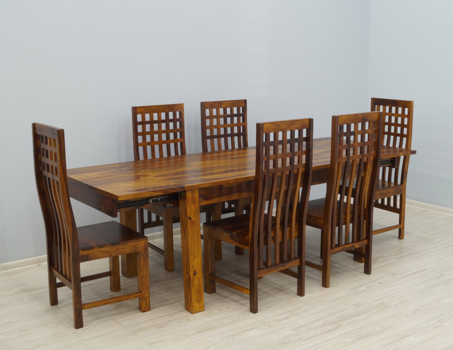 Komplet obiadowy kolonialny stół rozkładany + 6 krzeseł lite drewno palisander miodowy brąz modernistyczny