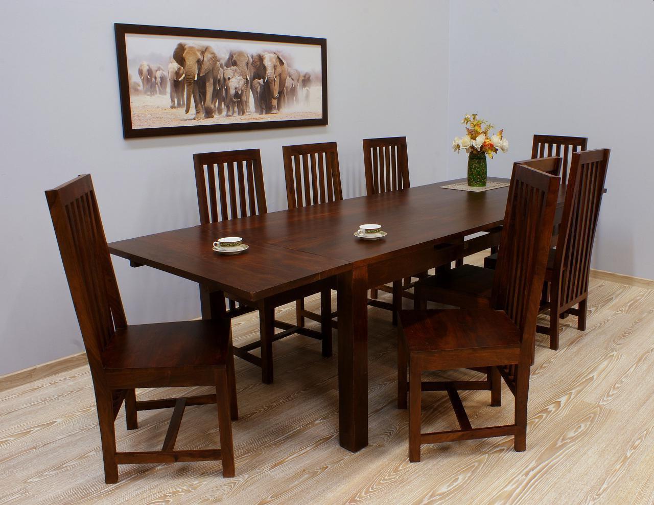 Komplet obiadowy kolonialny stół rozkładany + 8 krzeseł lite drewno palisander ciemnobrązowy
