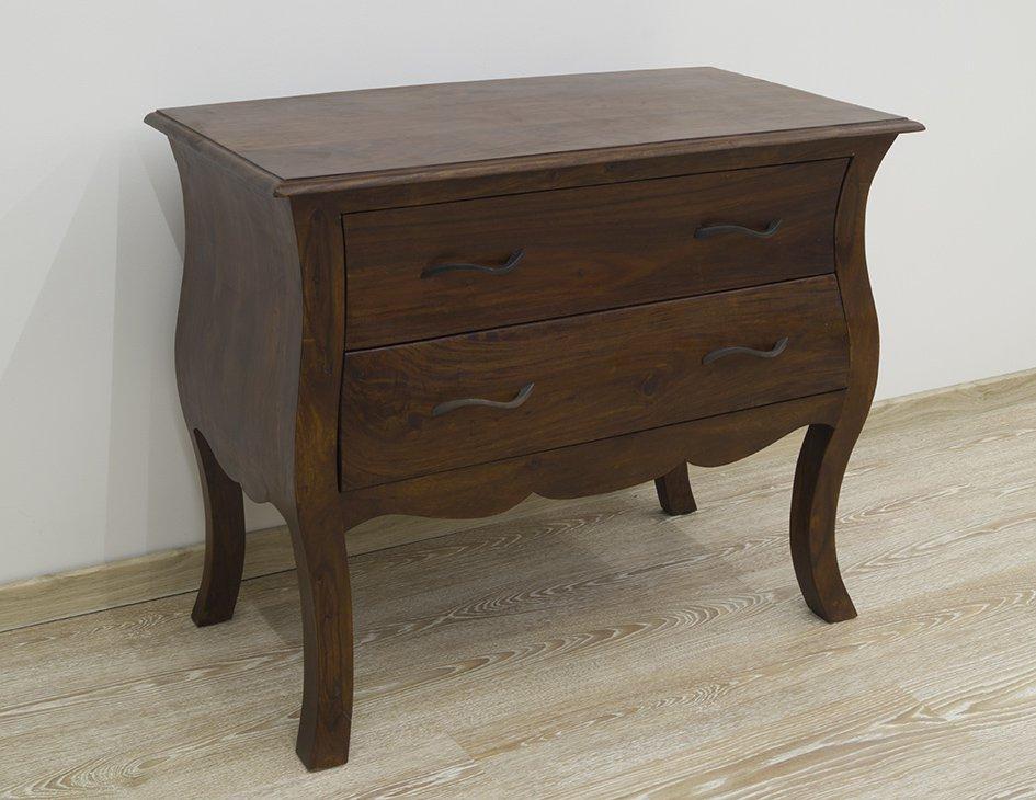 Konsola kolonialna lite drewno palisander indyjski gięte nogi szuflady stylowa