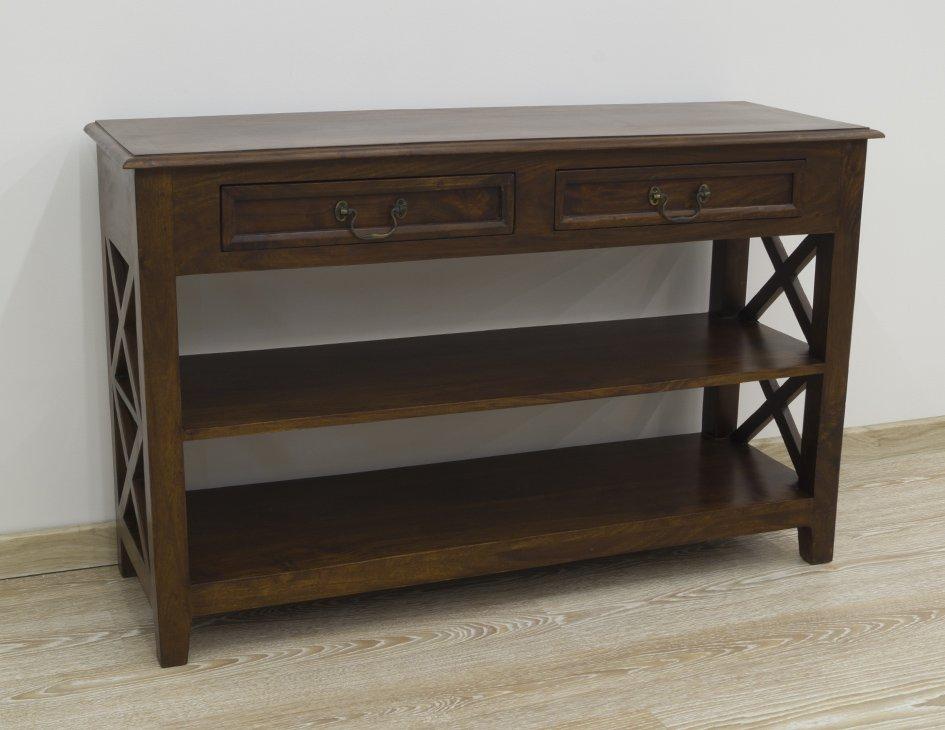 Konsola kolonialna lite drewno palisander indyjski szuflady półki