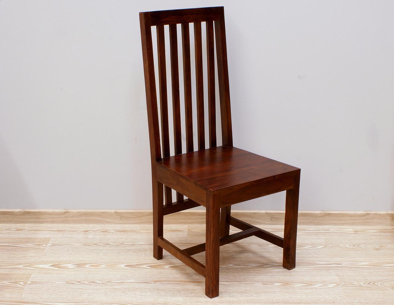 Krzesło kolonialne lite drewno palisander indyjski ciemnobrązowe