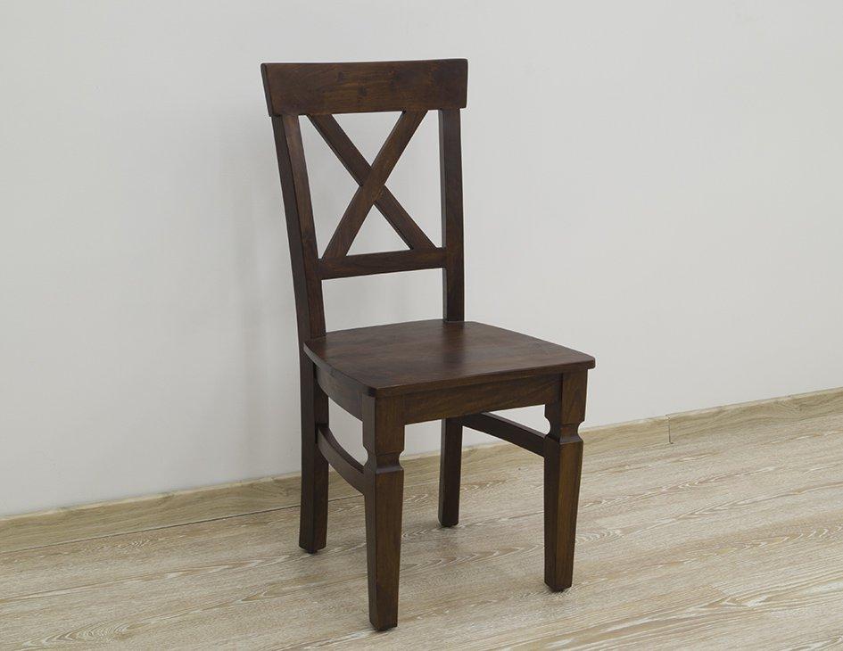 Krzesło kolonialne lite drewno palisander indyjski klasyczne ciemny brąz