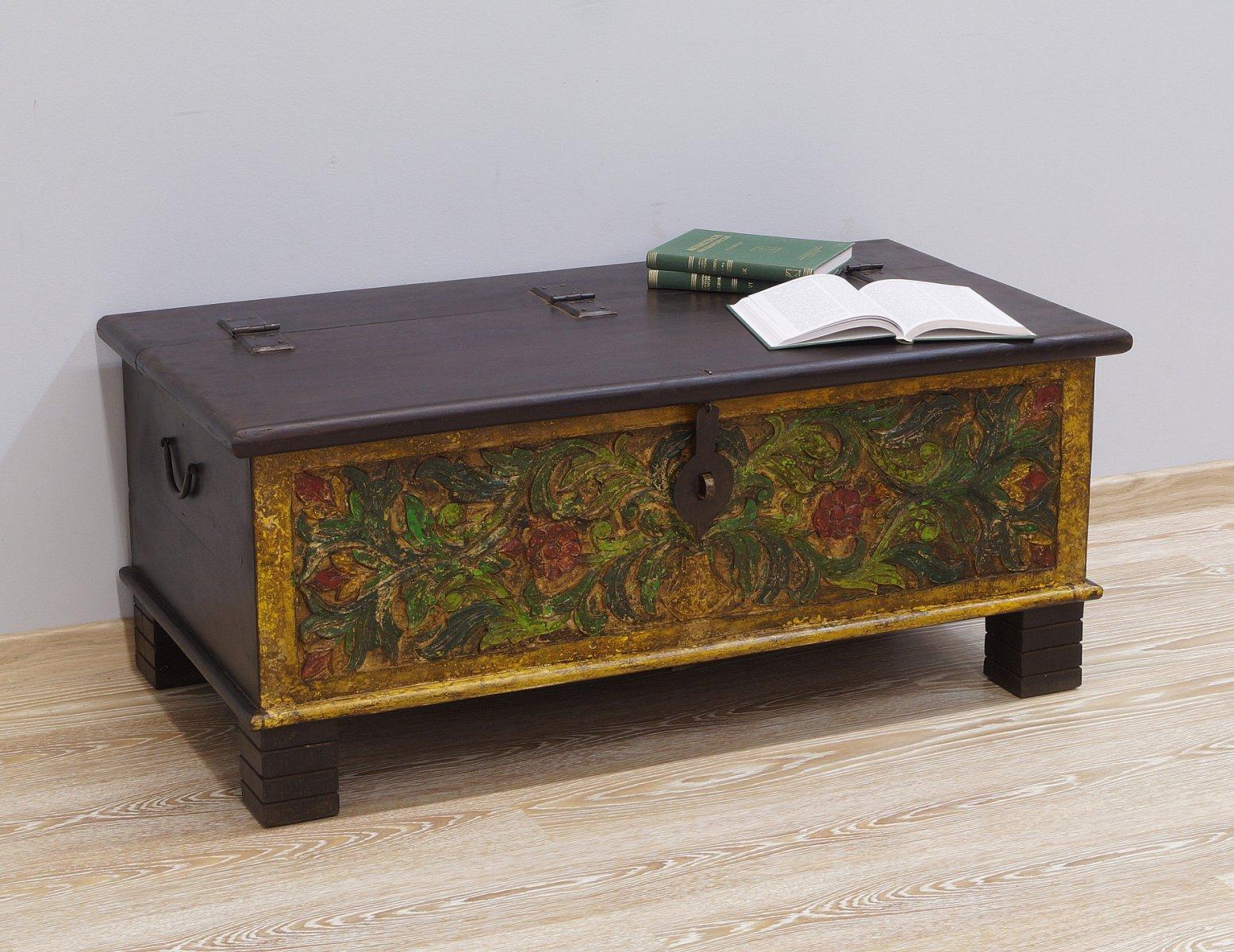 Kufer kolonialny lite drewno mango ręcznie rzeźbiony malowany