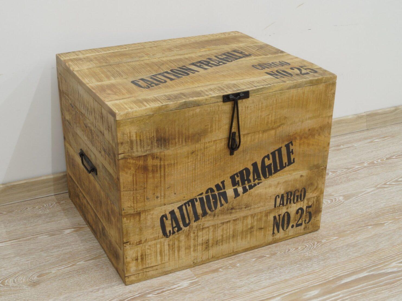 Kufer kolonialny lite drewno mango styl Loft napisy