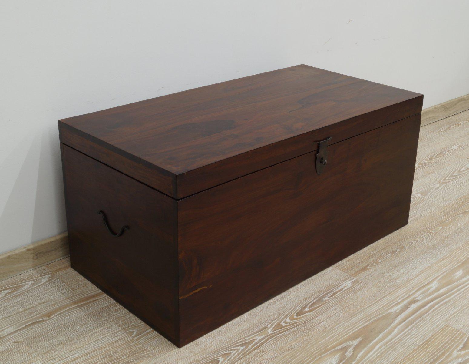 Kufer kolonialny lite drewno palisander indyjski ciemny brąz nowoczesny