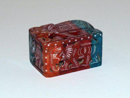 Kuferek z kamienia indyjski motyw sloni kolorowy recznie malowany