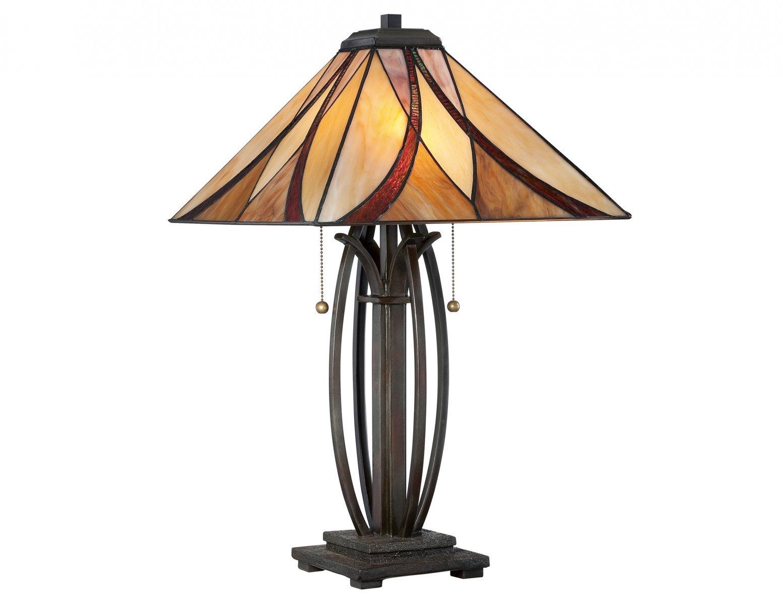 Lampa stołowa nocna klasyczna brązowa z artystycznym abażurem stworzonym z 44 kolorowych elementów szkła