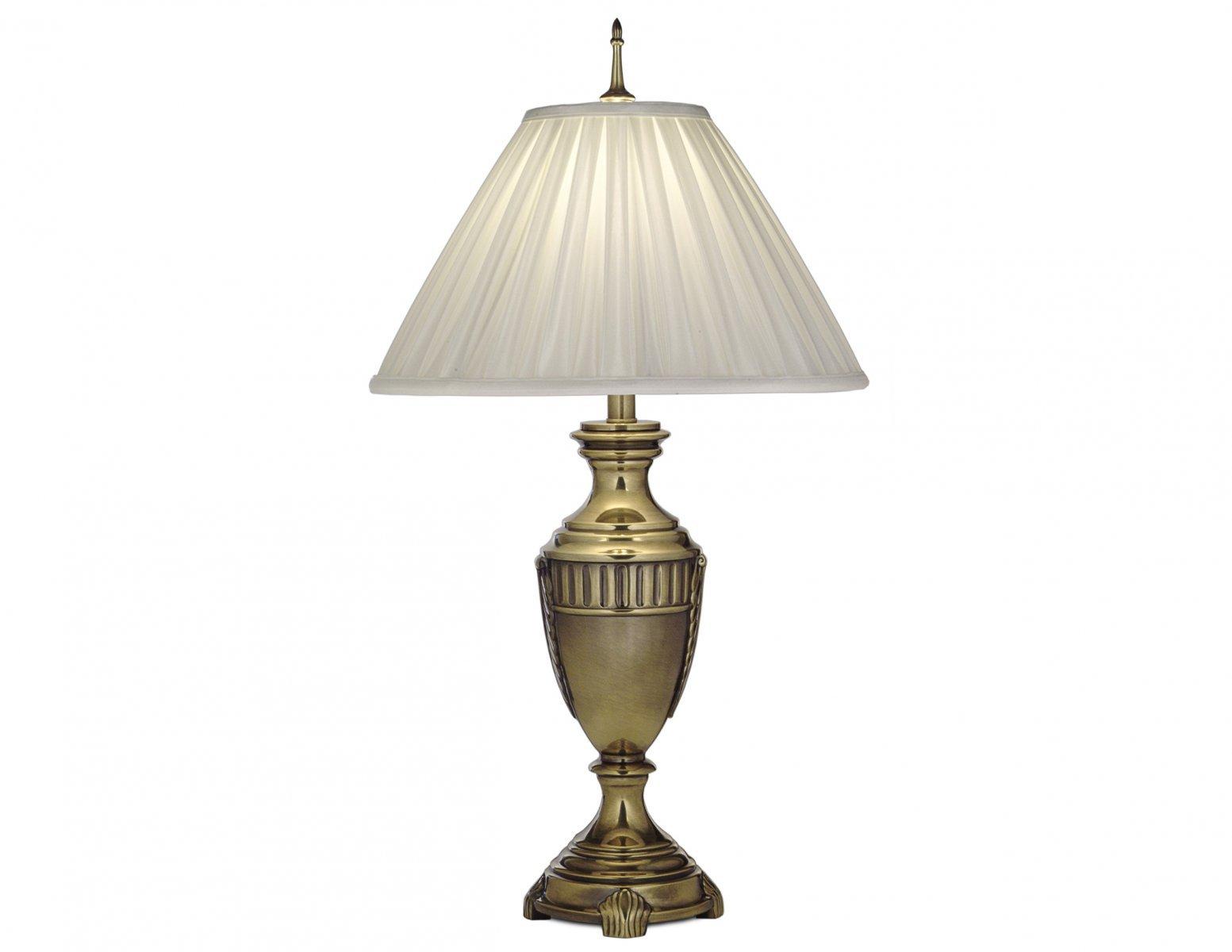 Lampa stołowa nocna podstawa z odlewu cynkowego w kolorze oksydowanego mosiądzu z jedwabnym abażurem w odcieniu perłowym