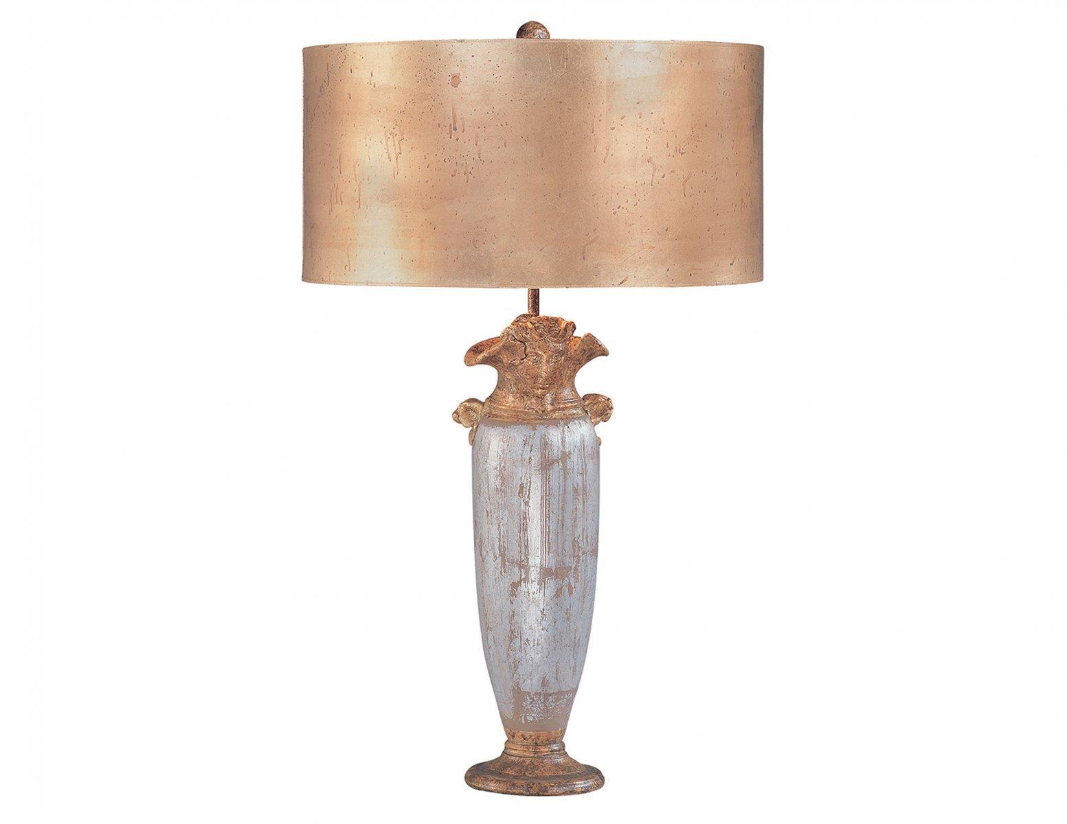 Lampa stołowa nocna stylizowana na antyk malowana w odcieniu złota i srebra