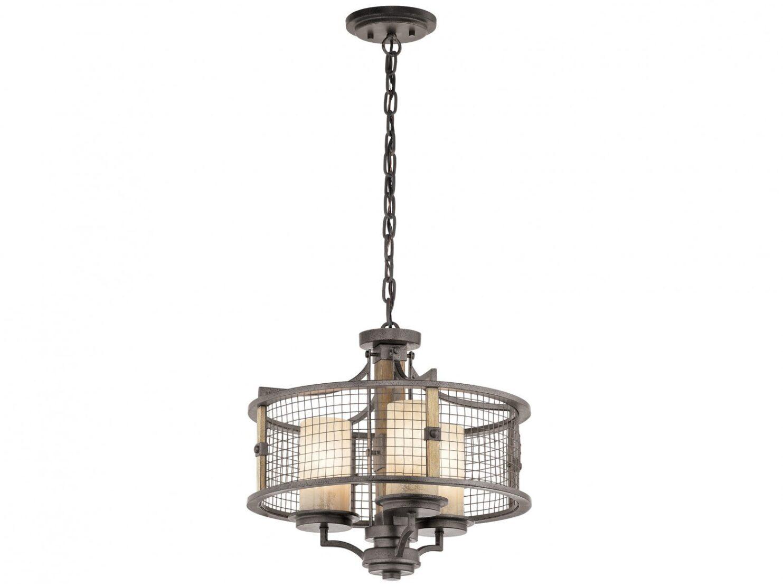 Lampa wisząca industrialna rustykalna loftowa z ramą w odcieniu kutego żelaza 3 źródła światła