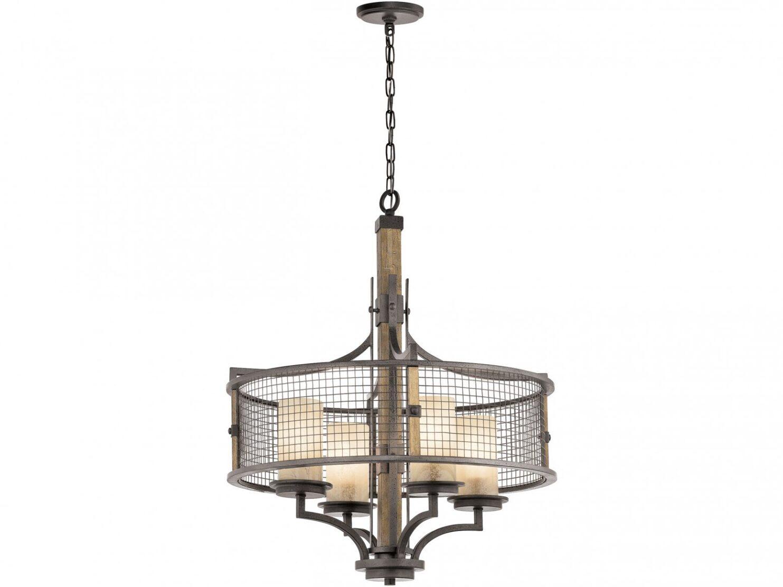 Lampa wisząca industrialna rustykalna loftowa z ramą w odcieniu kutego żelaza 4 źródła światła