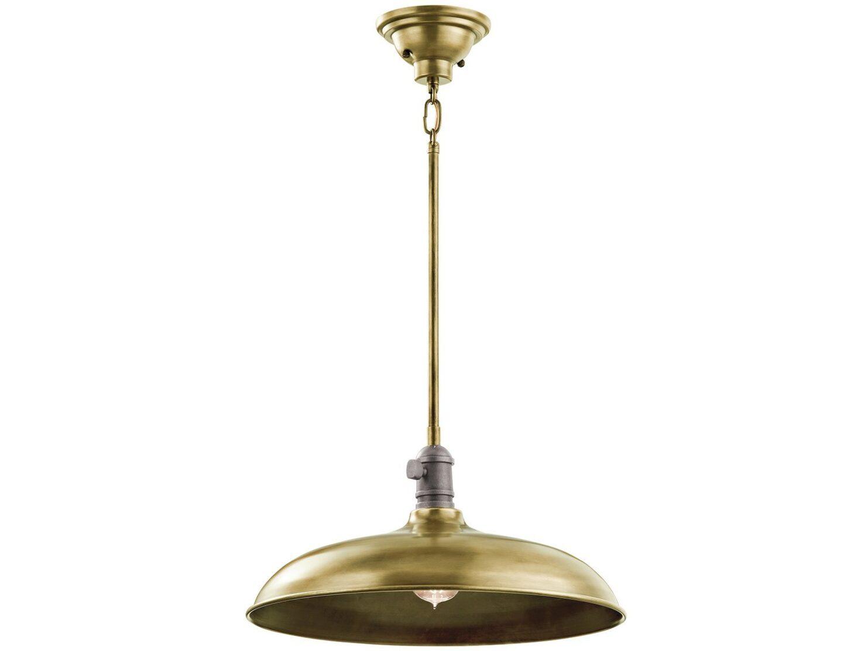 Lampa wisząca modernistyczna nowoczesna z kloszem w odcieniu naturalnego mosiądzu