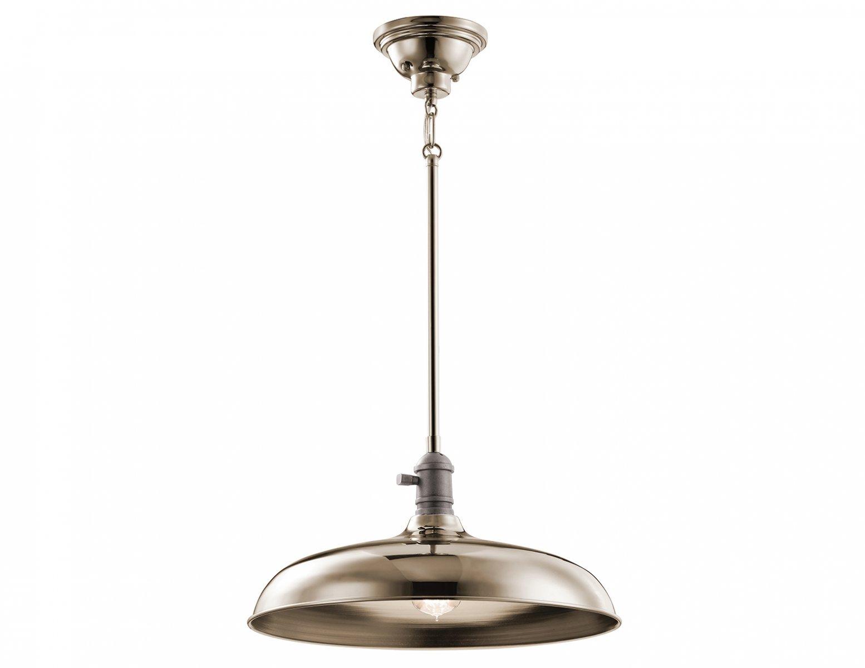Lampa wisząca modernistyczna nowoczesna z kloszem w odcieniu polerowanego niklu