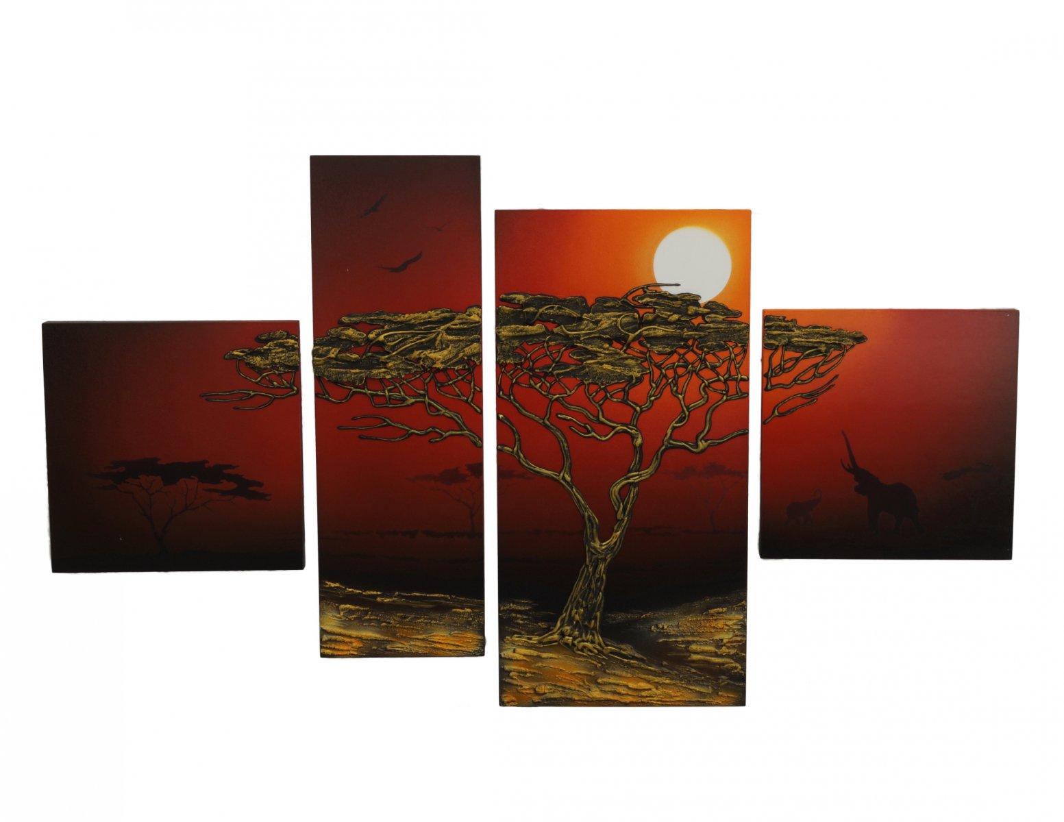 Obraz kwadryptyk afrykanska natura