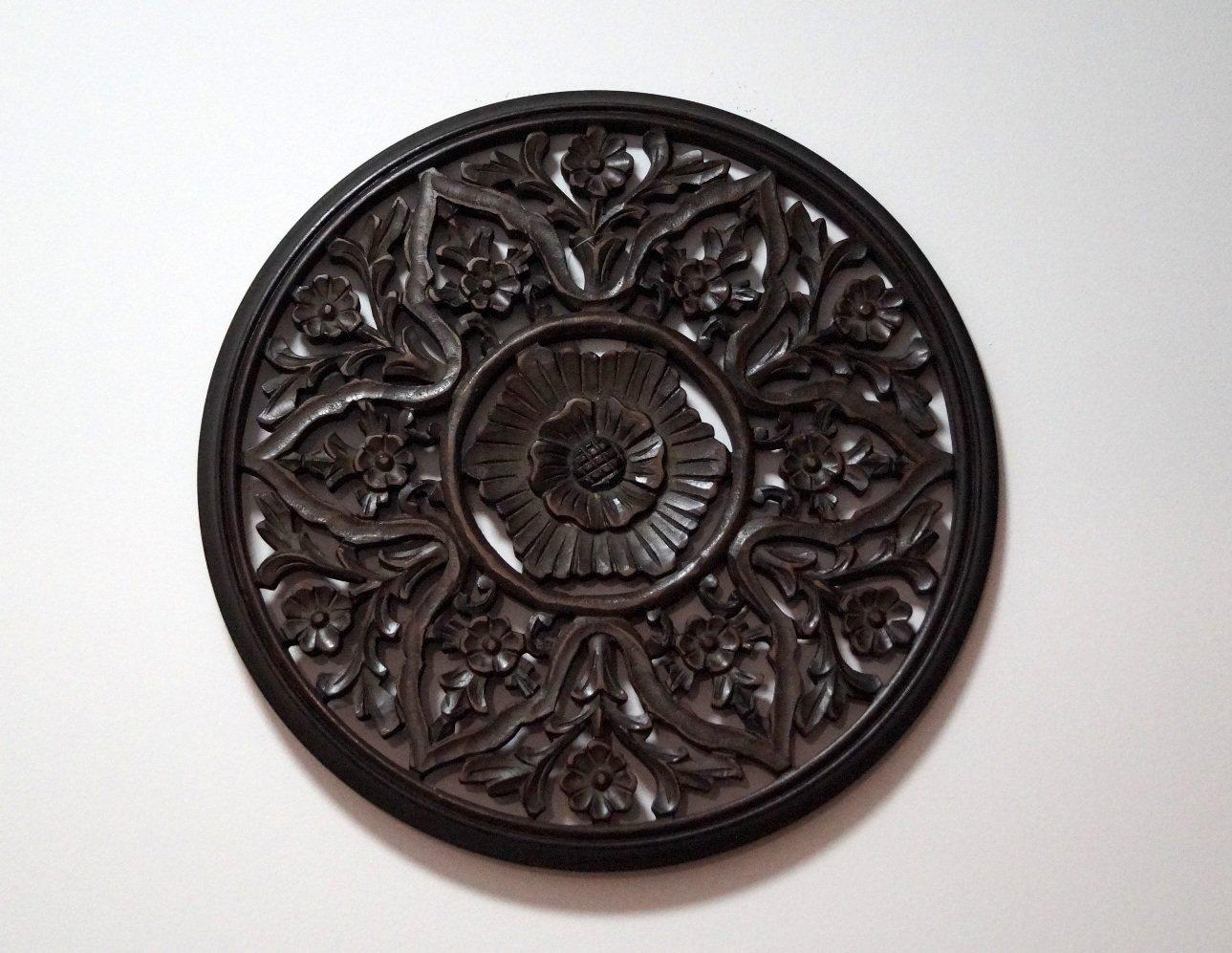 Panel ścienny dekoracyjny wykonany ręcznie ciemnobrązowy ażurowy okrągły unikat