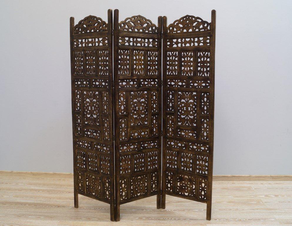 Parawan kolonialny ażurowy brązowy przecierany 3 panele