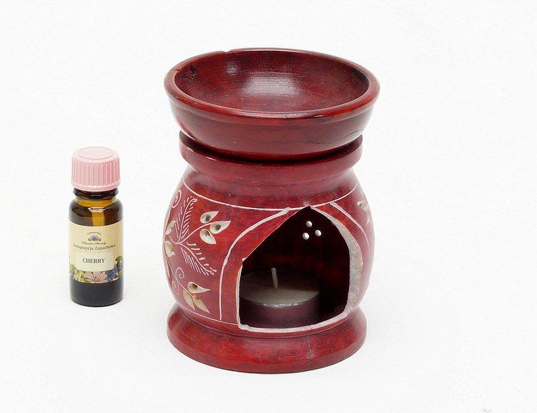 Podgrzewacz do olejkow z kamienia z Indii czerwony