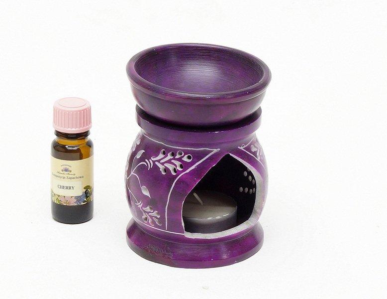 Podgrzewacz do olejkow z kamienia z Indii fioletowy