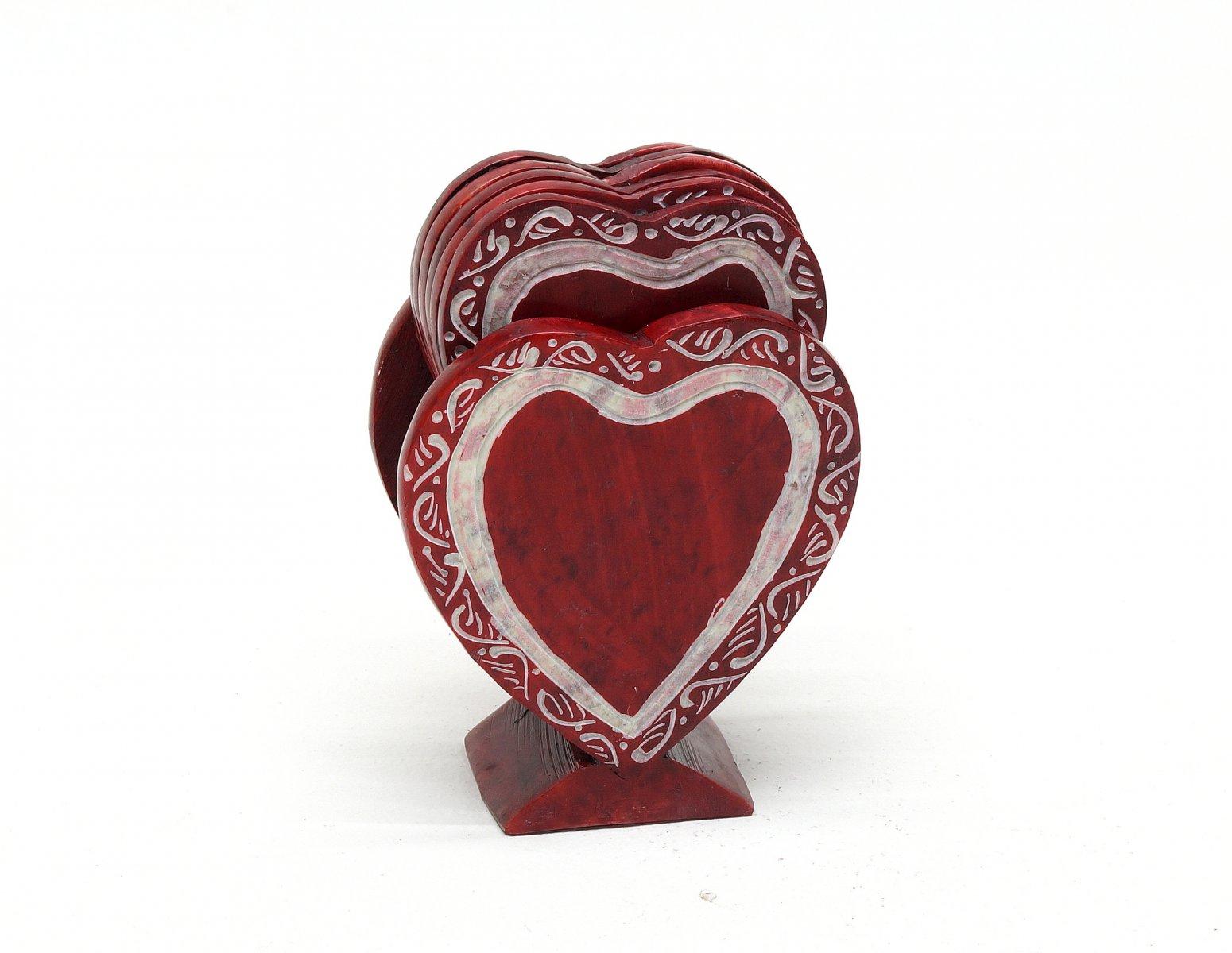Podstawki indyjskie pod szklanki kubek z kamienia motyw serca