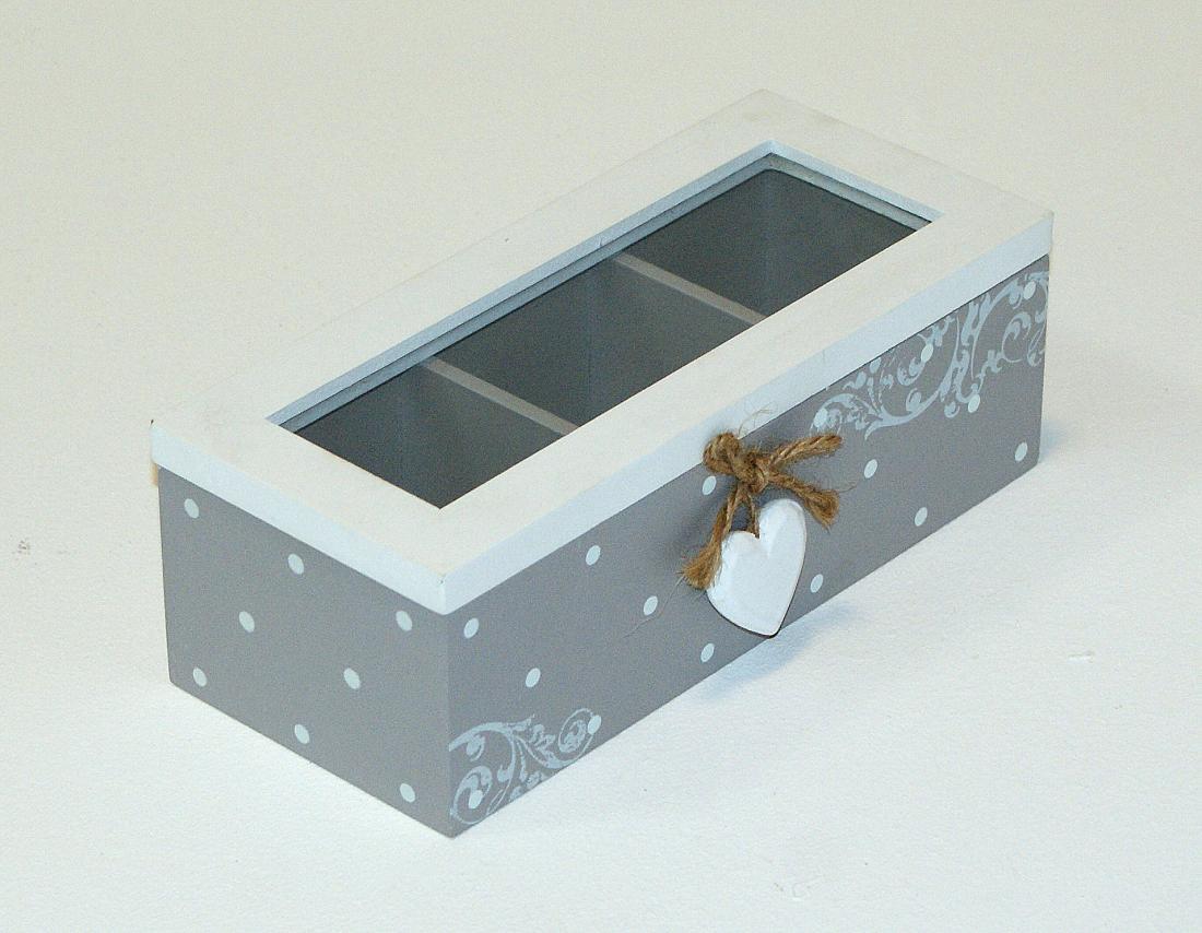 Pudełko na herbate drewniane dekorowane kropki