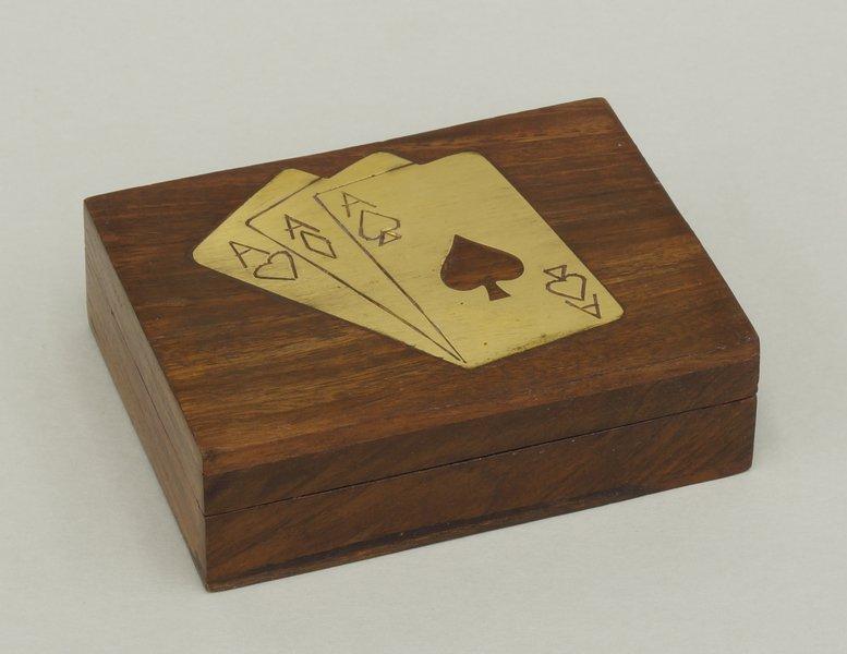 Pudelko na talie kart indyjskie drewniane zdobione mosiadzem