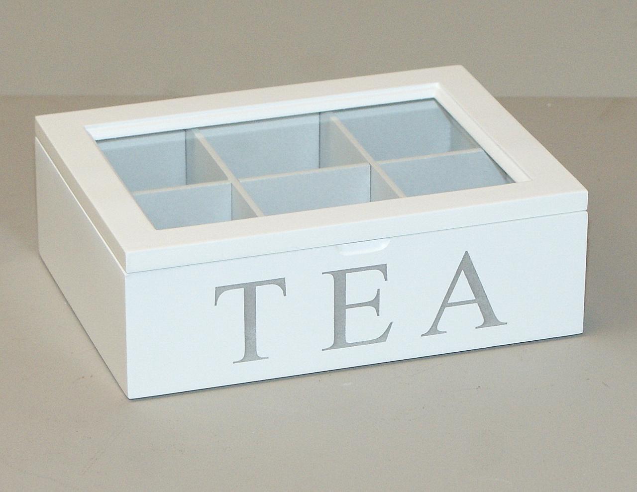 Pudelko skrzyneczka drewniana na herbate biale