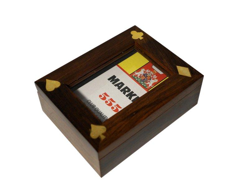 Pudelko z talia kart drewniane zdobione mosiadzem