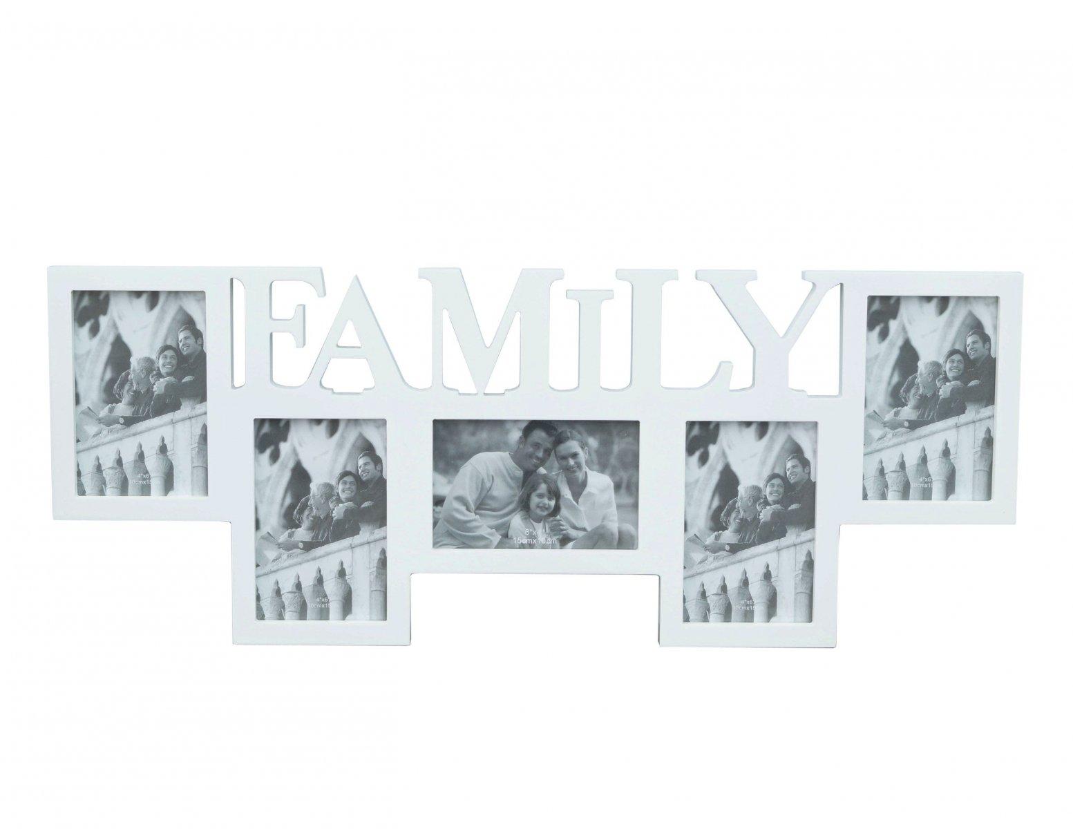 Ramka na zdjecia biala napis FAMILY