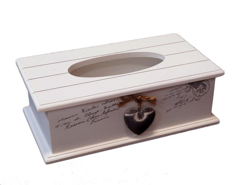 Serwetnik drewniany skrzyneczka podajnik bialy