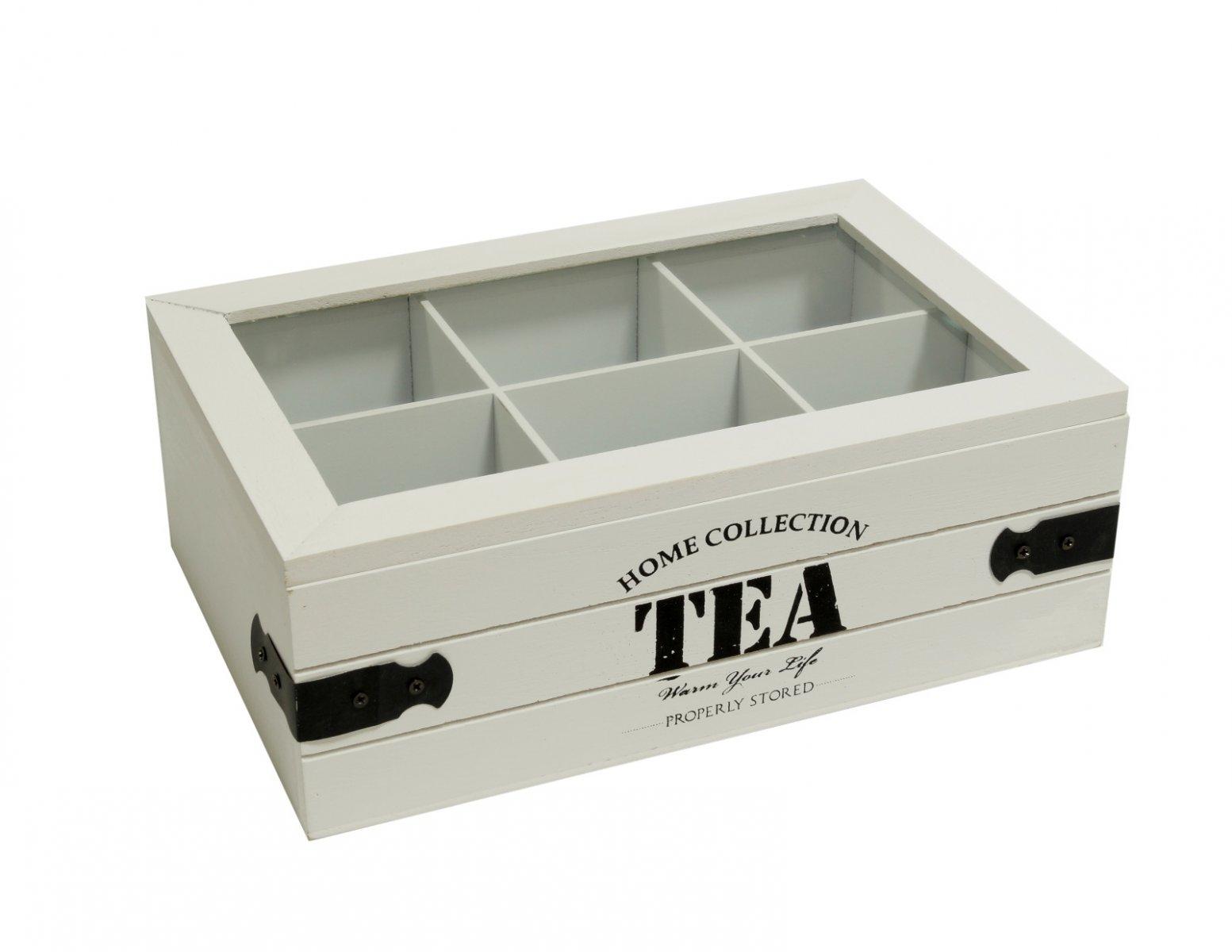 Skrzyneczka drewniana pudelko na herbate biala metalowe okucia