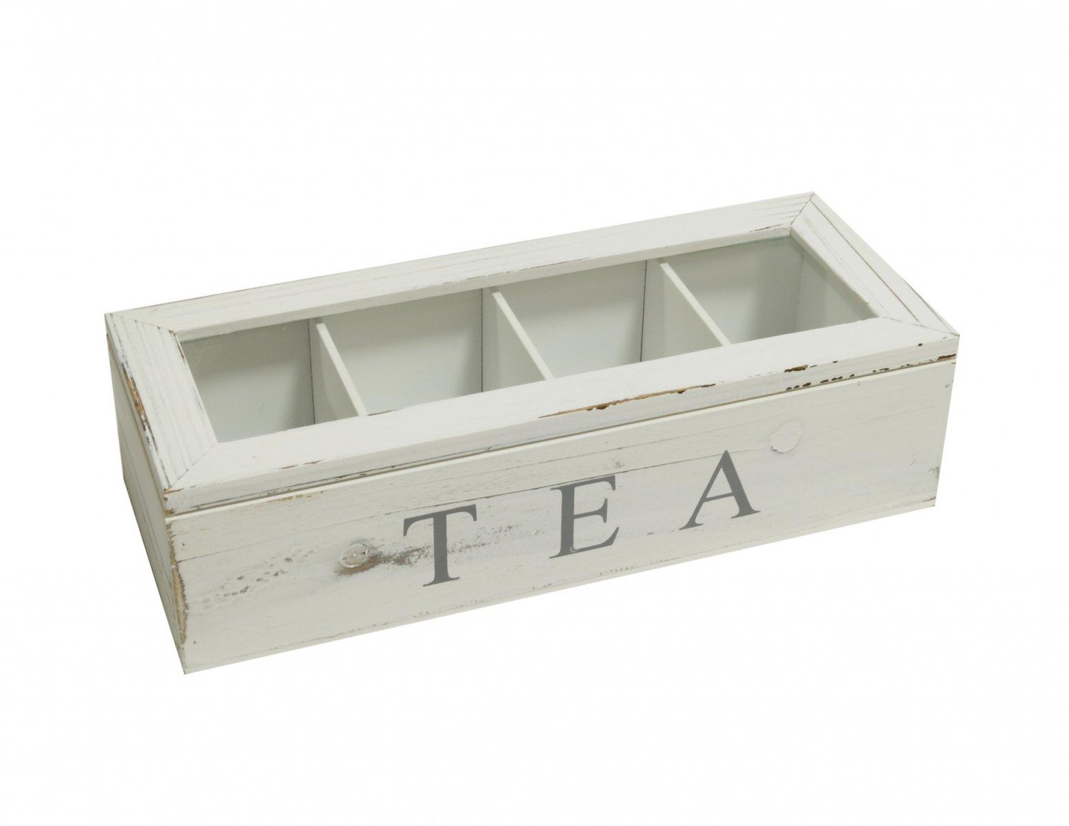 Skrzyneczka drewniana pudelko na herbate bielona postarzana
