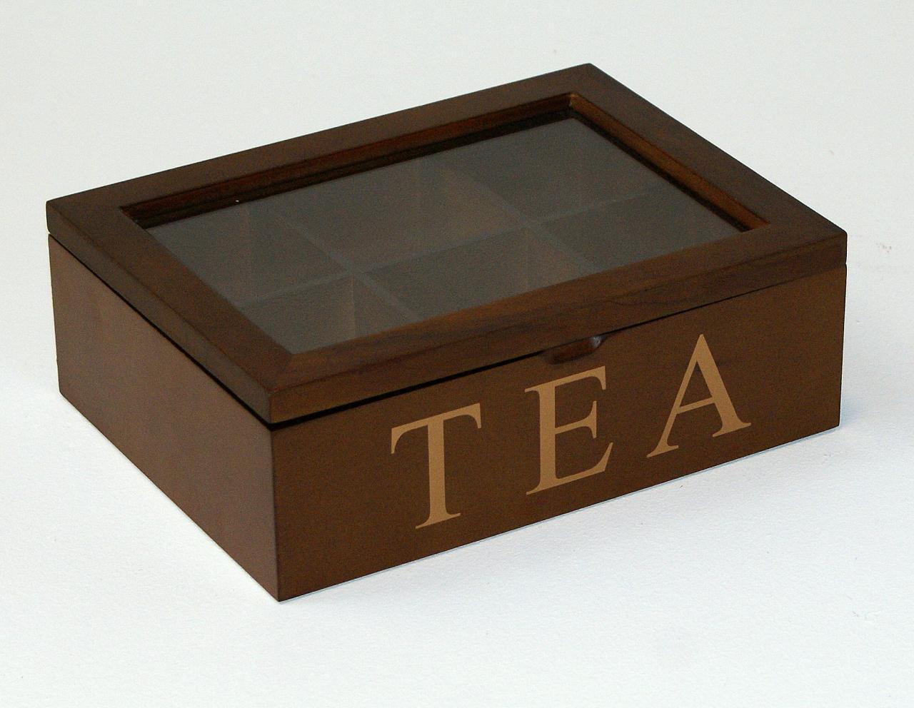 Skrzyneczka drewniana pudelko na herbate ciemny braz