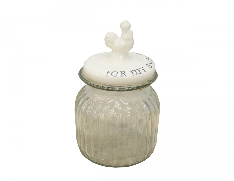 Sloik z ceramiczna pokrywka na slodycze ozdobny kogut