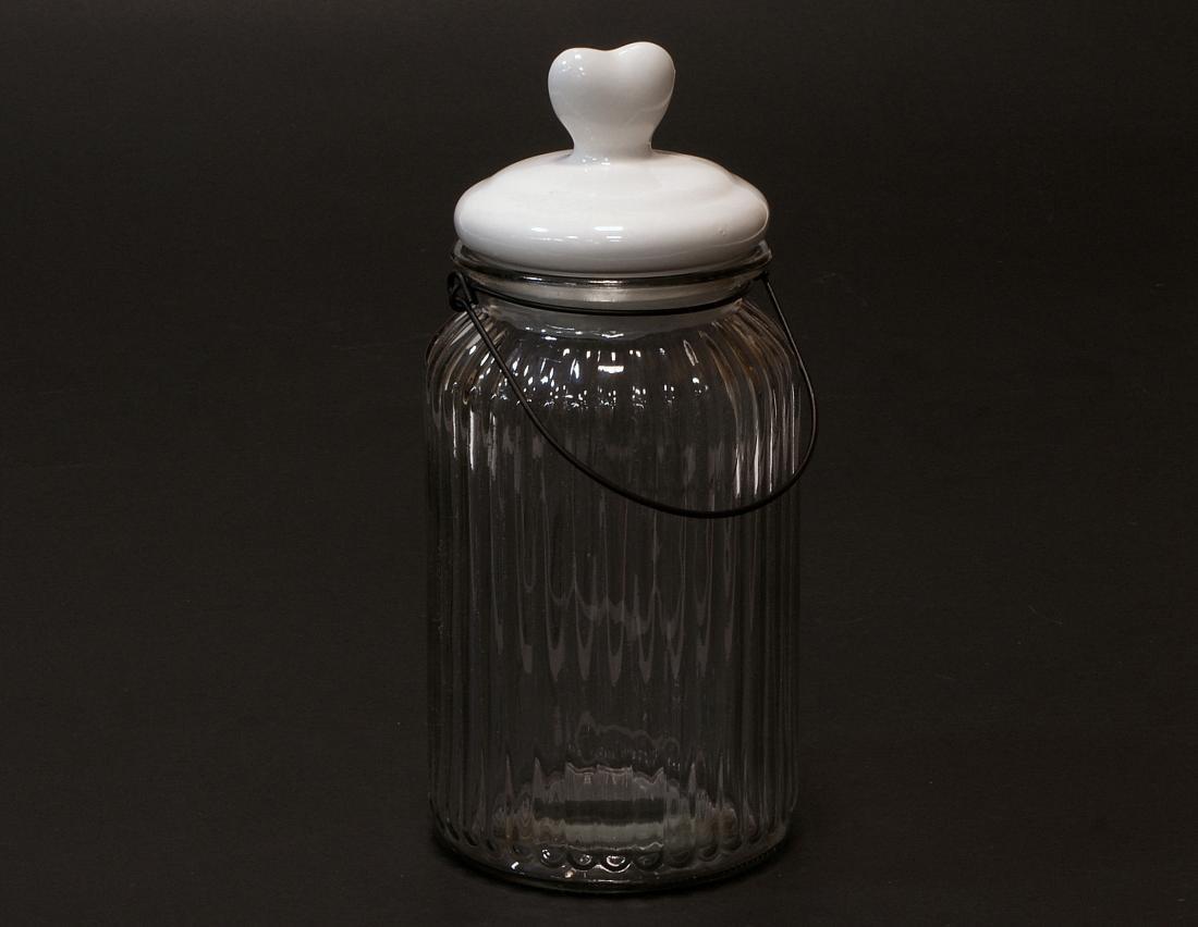 Sloik z ceramiczna pokrywka ozdobne serce