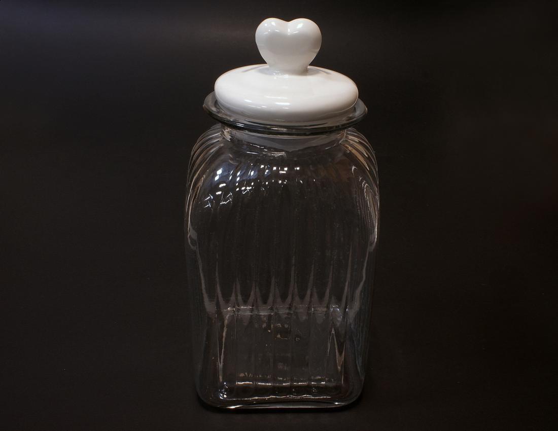 Sloik z ceramiczna pokrywka ozdobne serce pojemny
