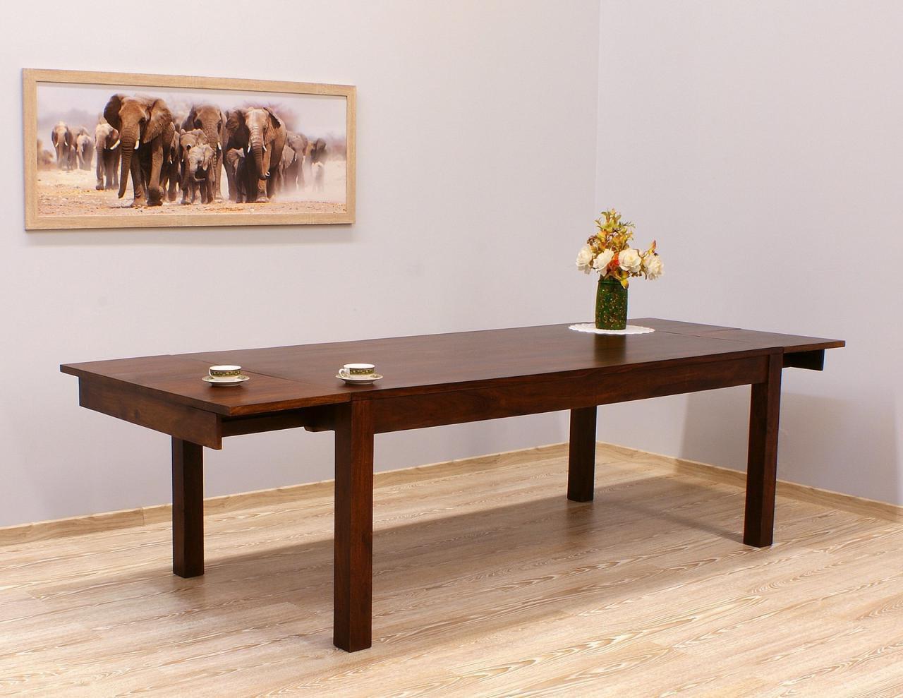 Stół kolonialny rozkładany lite drewno palisander indyjski ciemnobrązowy duży