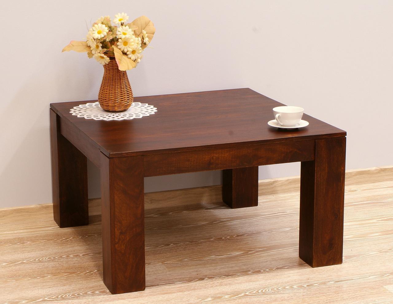 Stolik kawowy indyjski lite drewno palisander ciemny brąz minimalistyczny