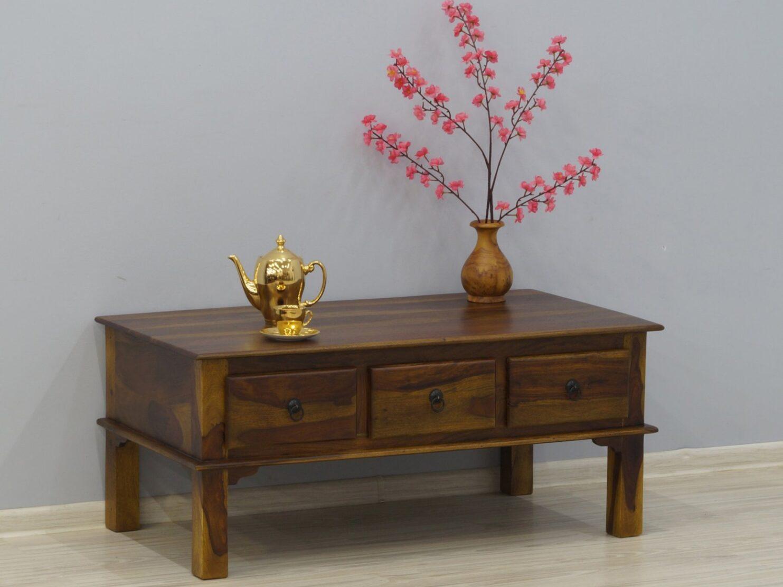 Stolik kawowy indyjski lite drewno palisander jasnobrązowy z szufladami