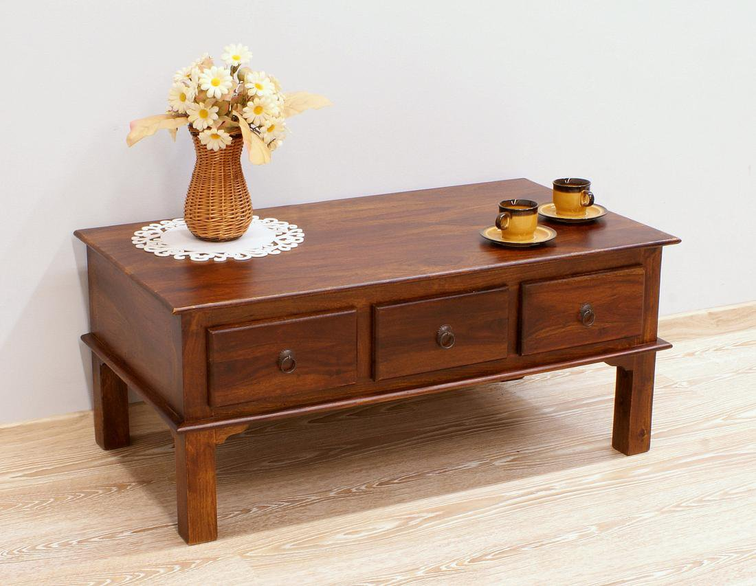 Stolik kawowy indyjski lite drewno palisander z szufladami klasyczny