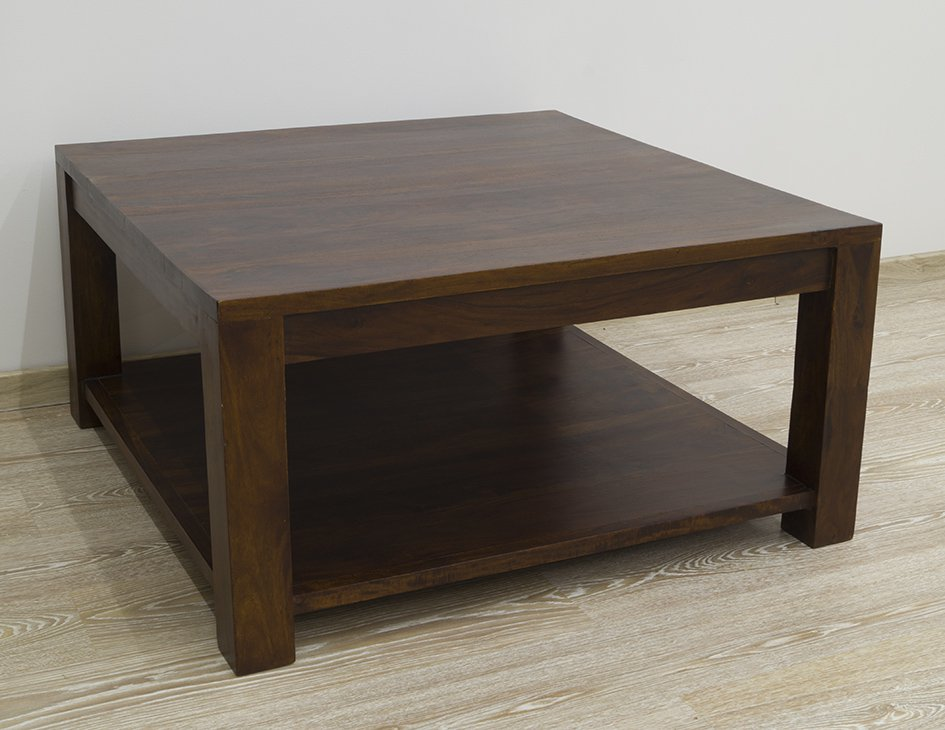 Stolik kawowy kolonialny lite drewno palisander indyjski nowoczesny ciemnobrązowy z półką