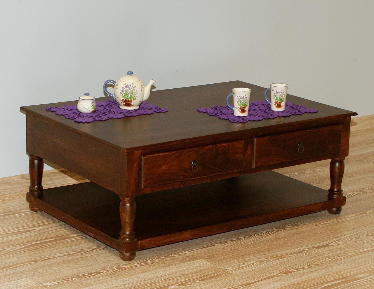 Stolik kawowy kolonialny lite drewno palisander indyjski z szufladami z półką