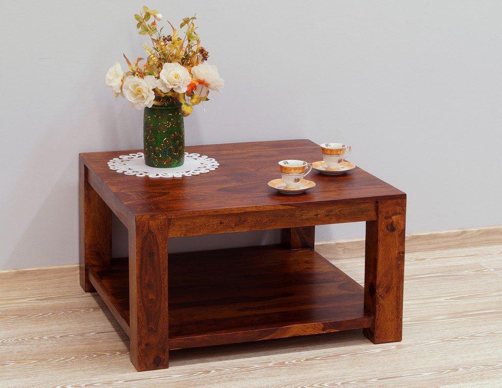 Stolik kawowy kolonialny z litego drewna palisandru indyjskiego z półką miodowy brąz