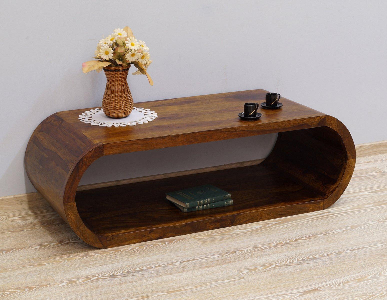 Stolik kolonialny lite drewno palisander indyjski jasny brąz nowoczesny unikatowy kształt